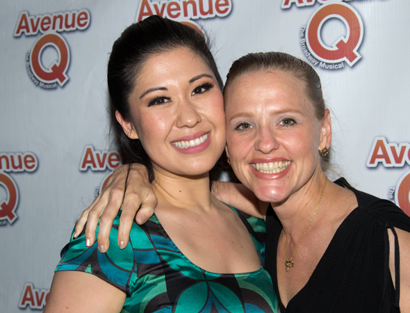Ruthie Ann Miles and Anika Larsen were among the <i>Avenue Q</i> alumni who took part in the celebration.<br />(© David Gordon)