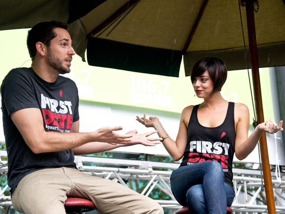 "Zachary Levi reveals his ""First Impression"" of Krysta Rodriguez.<br />(© David Gordon)"