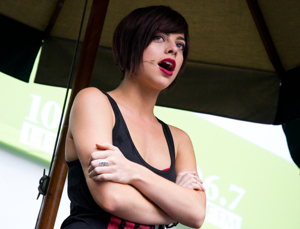 "Krysta Rodriguez sings ""Safer,"" from <i>First Date</i>.<br />(© David Gordon)"