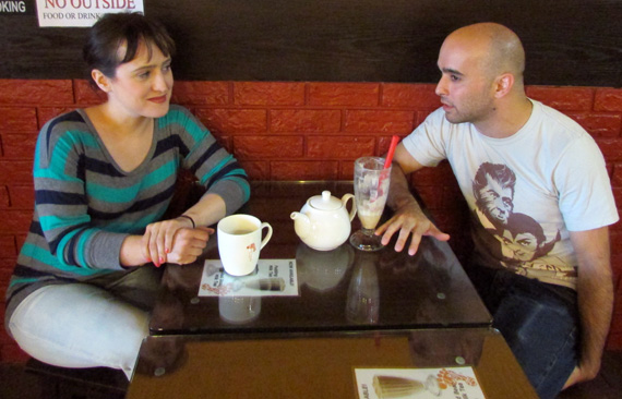 Mara Wilson and Max Reuben have a tea party.