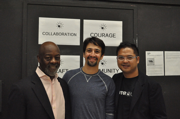 Waterwell artists Otis Sallid, Lin-Manuel Miranda, and Victor Maog smile for the camera.<br />(© Julian Aldana-Tejada/Waterwell)
