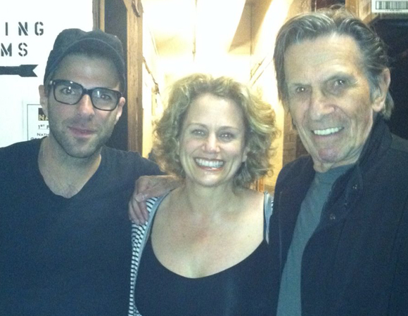 Backstage at the Lyceum Theatre, Cady Huffman (center) poses with visitors Zachary Quinto and Leonard Nemoy.