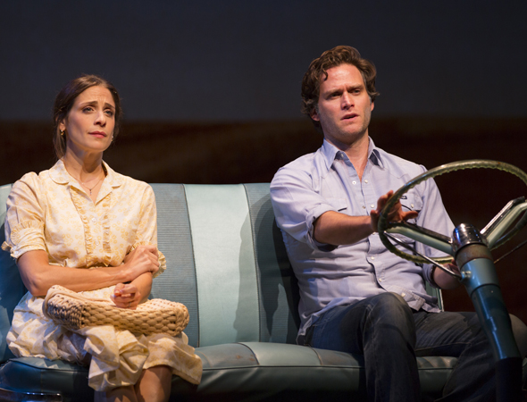 Elena Shaddow and Steven Pasquale as romantic pair, Robert Kincaid and Francesca Johnson. <br />(© T Charles Erickson)