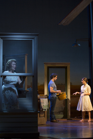 Pictured from left to right: Cass Morgan (Marge), Steven Pasquale (Robert Kincaid) and Elena Shaddow (Francesca Johnson).<br />(© T Charles Erickson)