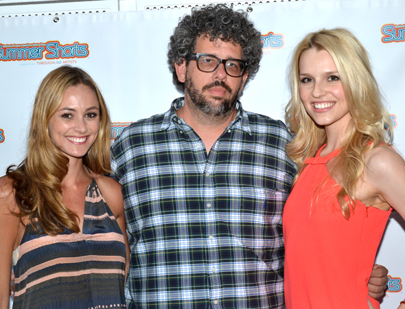 Elizabeth Masucci and Gia Crovatin join playwright/director Neil LaBute for a <i>Good Luck (In Farsi)</i> group photo.<br />(© David Gordon)