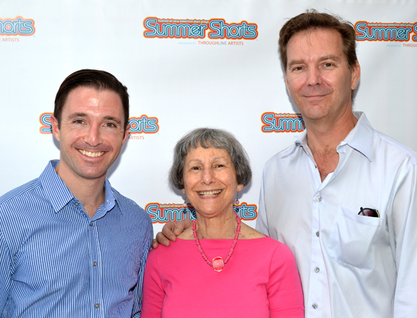 59E59 Artistic Director Elysabeth Kleinhans (center) joins <i>Summer Shorts</i> Executive Producer J.J. Kandel and Producing Artistic Director John McCormack for a celebratory photo.<br />(© David Gordon)