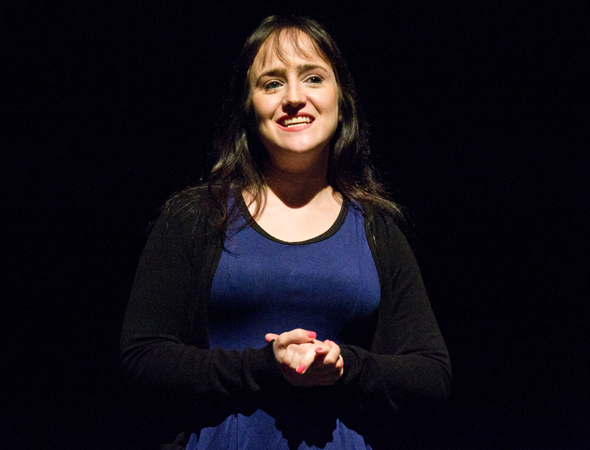 Playwright Mara Wilson introduces her play <i>Sheeple</i>.<br />(© David Gordon)