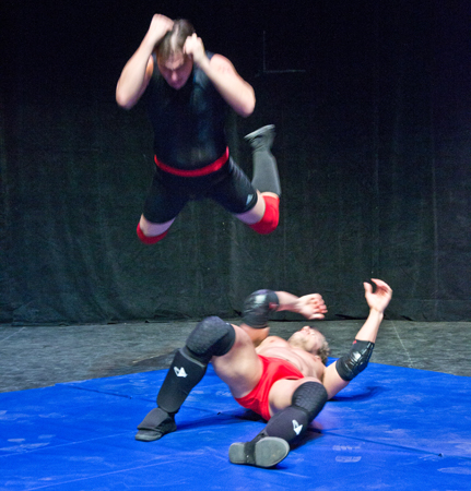 An action shot from <i>Breaking Kayfabe</i>, a new docudrama about wrestling.<br />(© David Gordon)