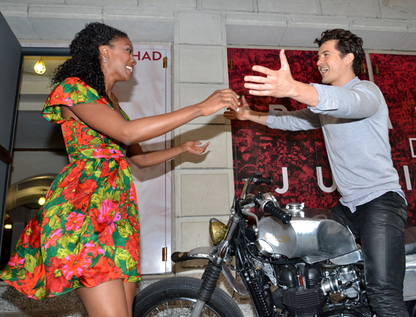 Bloom excitedly greets his on-stage love interest, two-time Tony Award nominee Condola Rashad.<br />(© David Gordon)