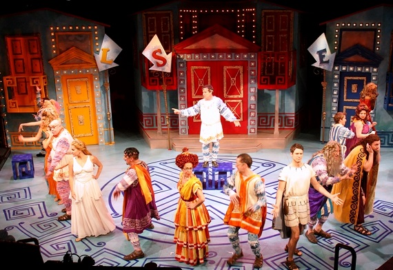 Peter Scolari and company in <i>A Funny Thing Happened on the Way to the Forum</i>