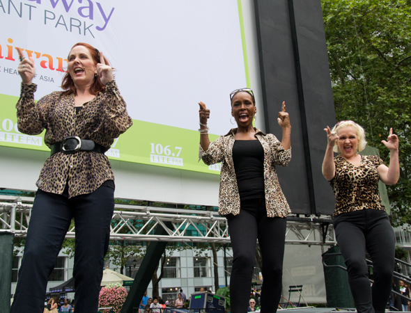 Mary Mossberg, Brenda Braxton, and Babs Winn share a number from <i>Cougar the Musical</i>.<br />(© David Gordon)