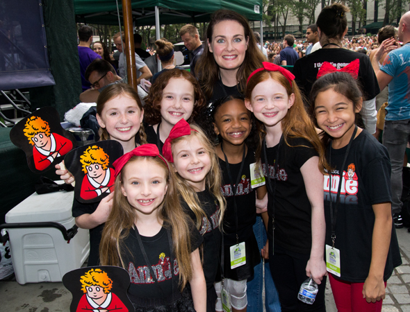 The company of <i>Annie</i>: Gaby Bradbury, Emily Rosenfeld, Taylor Richardson, Brooklyn Shuck, Tyra Skye Odoms, Danette Holden, Sadie Sink, and Amaya Braganza.<br />(© David Gordon)