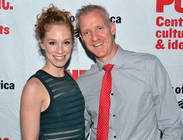 Lindsay Nicole Chambers and her hubby, Chris Barron, are on hand to cheer for her <i>Lysistrata Jones</i> castmate, Patti Murin.<br />(© David Gordon)