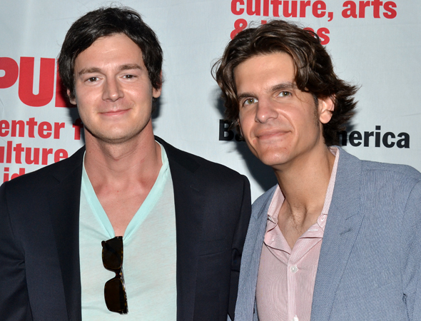<i>Bloody Bloody Andrew Jackson</i> star Benjamin Walker smiles alongside his pal, director Alex Timbers.<br />(© David Gordon)
