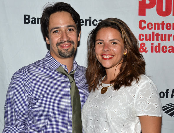 Lin-Manuel Miranda and his wife, Vanessa, share a romantic night with <i>Love's Labour's Lost</i>.<br />(© David Gordon)