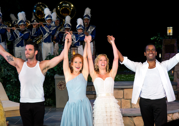 Colin Donnell, Maria Thayer, Patti Murin, and Daniel Breaker take their curtain call.<br />(© David Gordon)