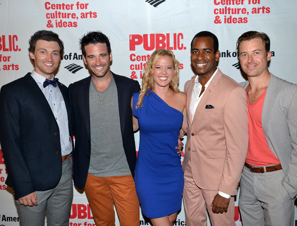 The men of <i>Love's Labour's Lost</i>, Bryce Pinkham, Colin Donnell, Daniel Breaker, and Lucas Near-Verbrugghe, surround their princess, Patti Murin.<br />(© David Gordon)