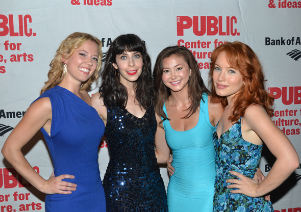 The ladies of <i>Love's Labour's Lost</i>: Patti Murin, Audrey Lynn Weston, Kimiko Glenn, and Maria Thayer.<br />(© David Gordon)