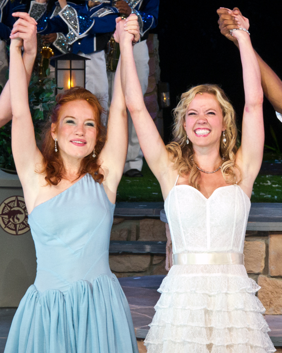 Maria Thayer and Patti Murin take their curtain call.
