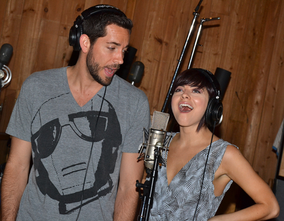 Zachary Levi and Krysta Rodriguez in the recording studio.