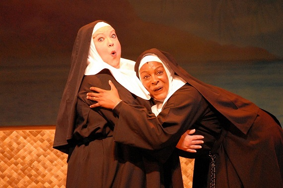 Gwendolyn F. Jones and Inga Ballard in <i>Nunsense</i>.