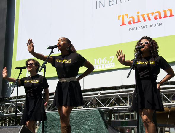 "Sydney Morton, Dionne Figgins, Ariana DeBose tell the crowd to ""Stop! In the Name of Love.""<br />(© David Gordon)"