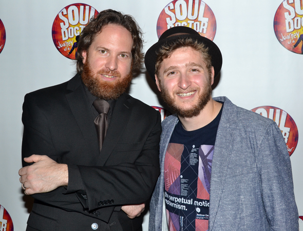Eric J. Stockton and Dillon Kondor are part of the show's musicians, collectively called The Holy Beggar Band.<br />(© David Gordon)