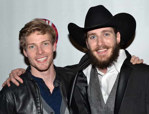<i>Godspell</i> star Hunter Parrish celebrates the opening night of his best friend, <i>Soul Doctor</i> cast member JC Schuster.<br />(© David Gordon)