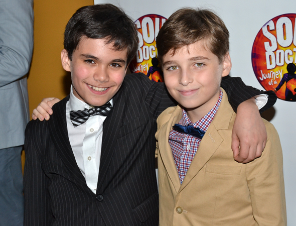 Teddy Walsh and Ethan Khusidman alternate the roles of Young Shlomo and Young Eli Chaim.<br />(© David Gordon)