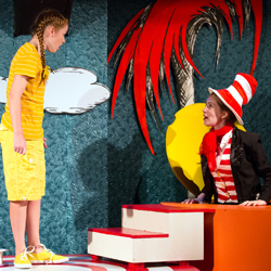 Kelly White (Jojo) and Sarah Prendergast (The Cat in the Hat) in a scene from <i>Seussical Jr.</i>.