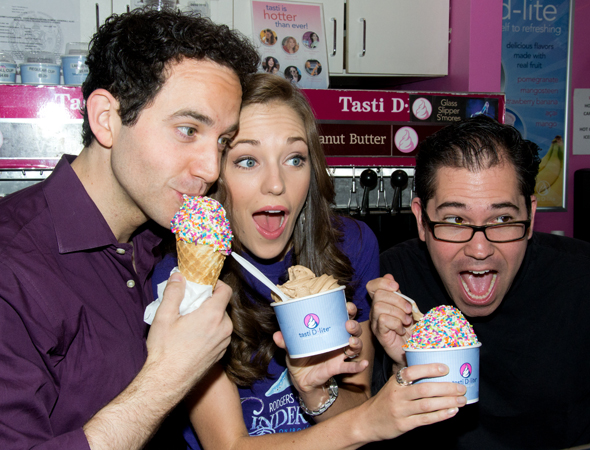 "Santino Fontana, Laura Osnes, and Andy Einhorn sample the new flavor, ""Glass Slipper S'Mores."""