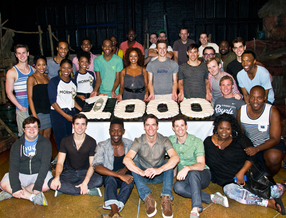 The cast of <i>The Book of Mormon</i> celebrates 1,000 performances with cupcakes.