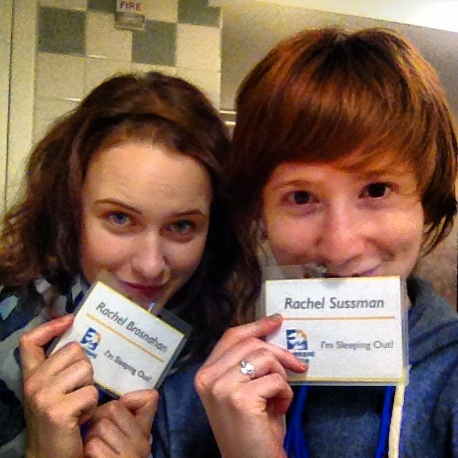 Rachel Brosnahan and Rachel Sussman are ready to sleep out.<br />(© Rachel Sussman)