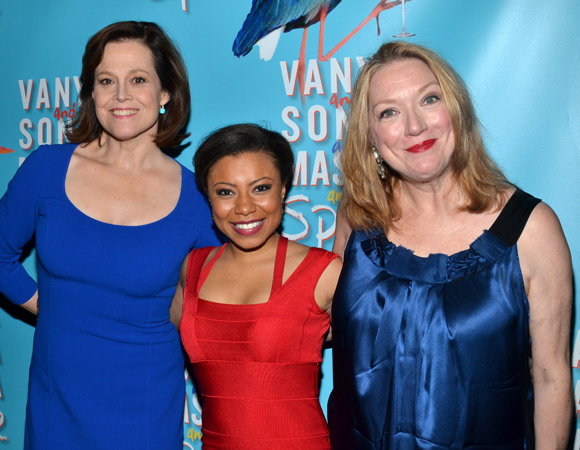 Sigourney Weaver, Shalita Grant, and Kristine Nielsen at the opening night party for <i>Vanya and Sonia and Masha and Spike</i>