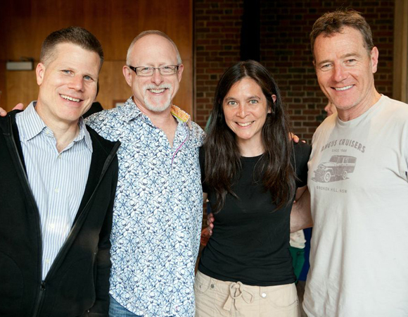 L to R: Director Bill Rauch, playwright Robert Schenkkan, Artistic Director Diane Paulus, and <i>All The Way</i> star Bryan Cranston.<br />(© Evgenia Eliseeva)
