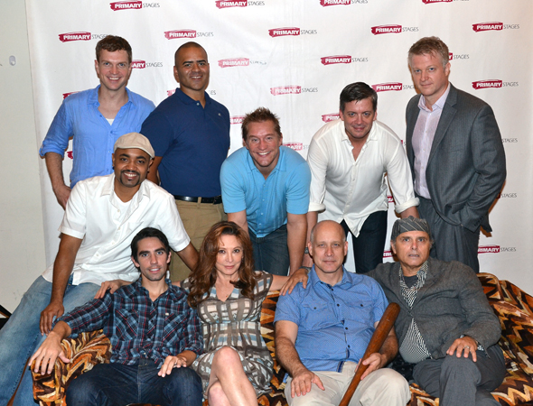 "A ""New York Yankees"" family photo with the cast and playwright of <i>Bronx Bombers</i>."