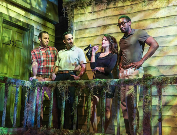 Byron Anthony, Matthew Pilieci, Cassandra Paras, and Jordan Tisdale live out a Savannah ghost story in <i>The Cheaters Club</i>.<br />(© Russ Rowland)