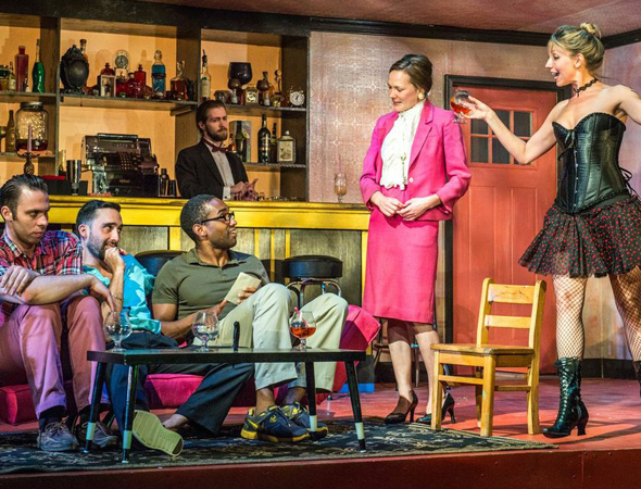 Byron Anthony, Matthew Pilieci, Jordan Tisdale, Sarah Lemp, and Kelley Swindall take the stage in <i>The Cheaters Club</i>.<br />(© Russ Rowland)
