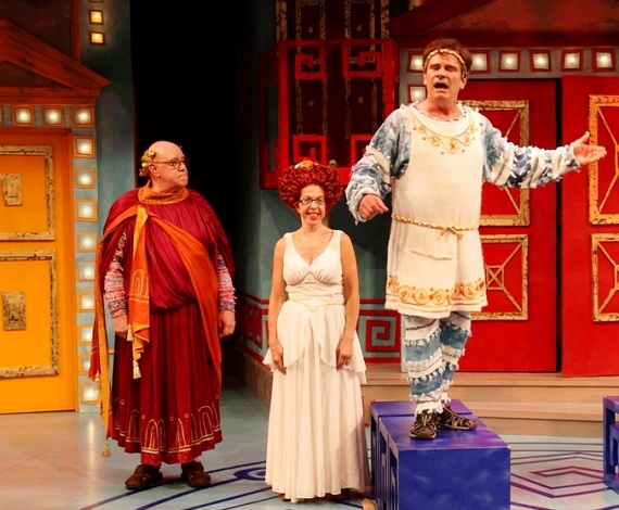 Conrad John Schuck, Jackie Hoffman, and Peter Scolari in <i>A Funny Thing Happened on the Way to the Forum</i>