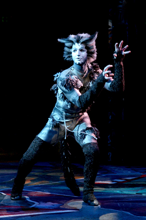 Lucas Thompson in the principal role of Munkustrap.<br />(© Paul Lyden)