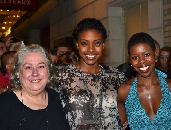 Jayne Houdyshell, Condola Rashad, and Roslyn Ruff take a break from signing autographs to pose for a photo.<br />(© David Gordon)
