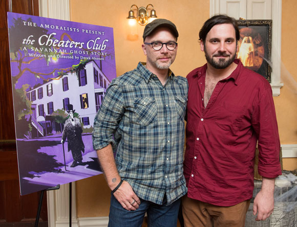 Michael Cerveris celebrates the opening of <i>The Cheaters Club</i> with playwright Derek Ahonen.