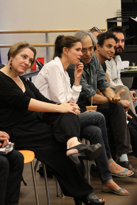 Constance Hoffman (costume designer), Julie Taymor (director), Jeffrey Horowitz (founding artistic director), Gregg Curtis (aerialist consultant), and Will O'Hare (aerialist consultant) in rehearsal for <i>A Midsummer Night's Dream</i>.<br />(© Gerry Goodstein)