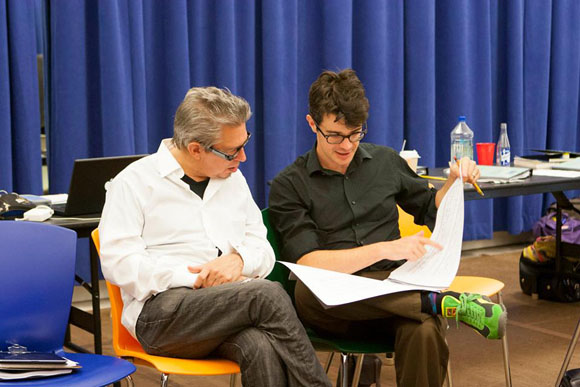 Oscar winner Elliot Goldenthal (composer) consults with Jonathan Mastro (music supervisor).<br />(© Nella Vera)