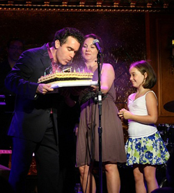 Brian d'Arcy James with wife Jennifer Prescott and daughter Grace celebrating his birthday at 54 Below last year.
