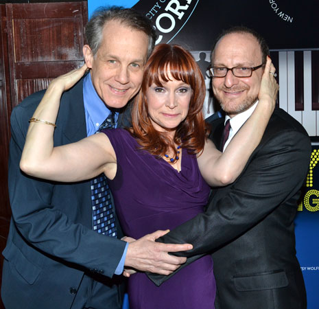 Ann Morrison (center) with her <i>Merrily We Roll Along</i> costars Jim Walton (left) and Lonny Price (right).