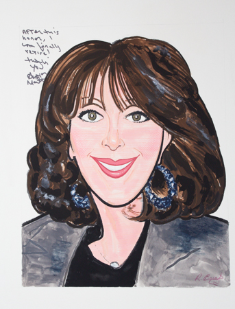 Andrea's caricature by Richard Baratz. <br />(© Seth Walters)