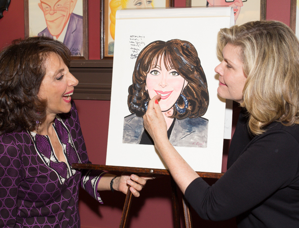 Andrea Martin and Debra Monk compare facial features with the caricature. <br />(© Seth Walters)