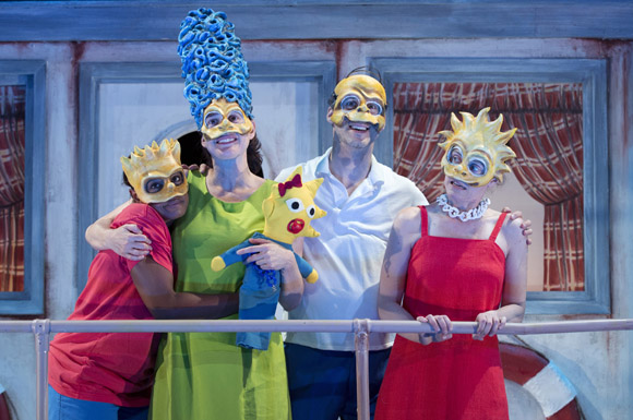 Quincy Tyler Bernstine, Jennifer R. Morris, Gibson Frazier, and Colleen Werthmann channel <i>The Simpsons</i> in <i>Mr. Burns</i>.<br />(© Joan Marcus)