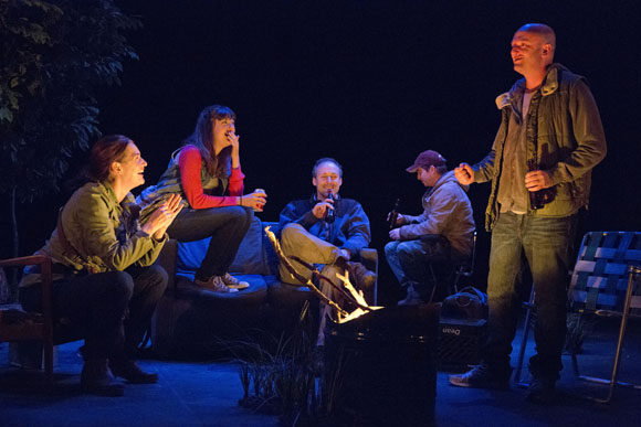 Jennifer R. Morris, Susannah Flood, Gibson Frazier, Sam Breslin Wright, and Matthew Maher in the post-electric night.<br />(© Joan Marcus)